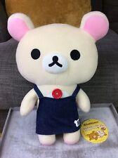 "SAN-X RILAKKUMA Denim Apron Big PLUSH Soft Collectible Toy Brand New 14"""