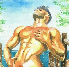 """PRINT of Original Art Work Watercolor Painting Gay Male Nude """"Hot day"""""""