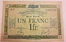 1 Franc BI66 Monnayage de nécessité, France, Régie des chemins de Fer,