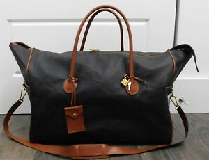 Bottega Veneta Marco Polo Black Brown Leather Duffle Travel Bag