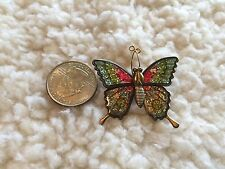 Vintage Fluorescent Colored Gold Tone BUTTERFLY Pin, Made In Taiwan