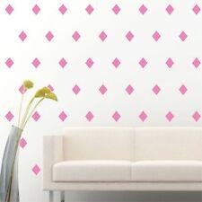"4"" Set of 96 Soft Pink Diamond Shape Wall Decal Vinyl Sticker Wall Pattern Decor"