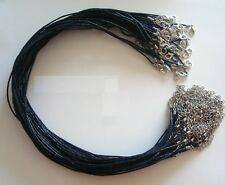 50 Necklace cords black 1.5mm waxed cotton 19 in adjustable lobster clasps M102B