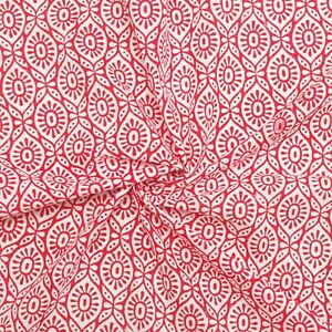 Indian Hand Block Print By The Meter Red 100% Cotton Women Dress Craft Fabric