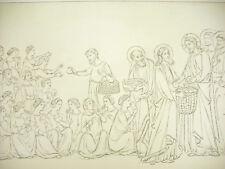 La multipication des pains Italie XIVe siècle Litho XIXe 1858 Hangard