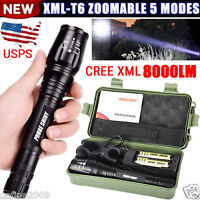 ZOOMABLE 8000LM CREE XM-L T6 LED Military Flashlight Torch 18650 Outdoor Torch
