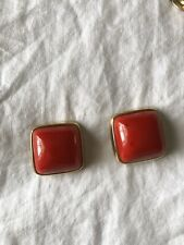 vintage squared earrings red acetate golden