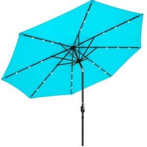 Large Patio Umbrella Outdoor Folding Sunbrella 10ft Deluxe Solar LED Lighted