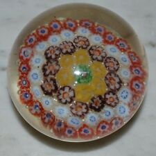 Tightly Packed Red Purple Cane Multi-Color Millefiori Art Glass Paperweight