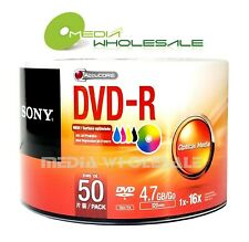 50 SONY 16X Blank DVD-R DVDR White Inkjet Hub Printable 4.7GB Media Disc