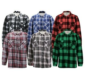 Men's Casual Flannel Button Up Plaid Fleece Warm Sherpa Lined Lightweight Jacket