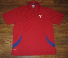 New listing Philadelphia Phillies Mens Polo Shirt, Red, Polyester, Nike Dri-Fit, Size L, EUC