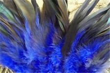 50 Royal Blue Half Bronze Schlappen Strung Rooster Feathers  US Seller