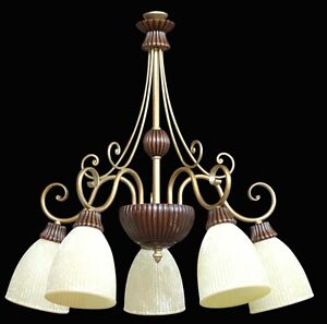 Chandelier Brass and Wood A 5 Lights Glass Discover Coll. Bga 1283 Classic