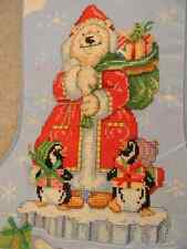 Handmade Cross Stitch Christmas Stocking POLAR BEAR Personalized 4U - JCA New