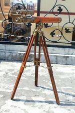 Antique Nautical Navy Leather Telescope With Wooden Tripod Marine Desk Decor