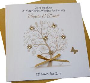 Personalised Handmade Golden Wedding Anniversary Card