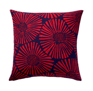 """New IKEA STJARNTULPAN Cushion Pillow Cover Floral Blue/Red 20""""x20"""" Red Christmas"""