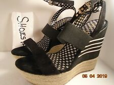 Jessica Simpson Women Wedge Black Suede Leather Strappy Sandals size 10