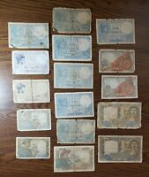 1930s - 1940s France 5 10 20 Francs Banknotes Papermoney Lot of 17