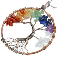 Mixed Chips Bead Copper Wire Wrap Tree Of Life Healing Chakra Charm Bead Pendant