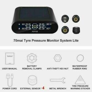 70mai Tire Pressure Monitor System Lite Smart Car TPMS Solar Power APP Control