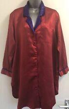 Victoria Secret De Colección Satén Rojo Púrpura's Cuello Camisón/Camisa Lencería Pequeño