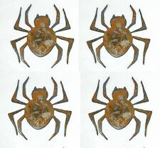 "Lot of 4 Spider Shapes Insect Bug 3"" Rusty Metal Vintage Craft Sign Ornament"