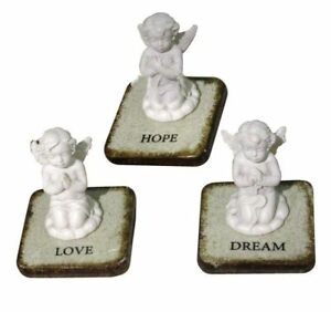 NEW ANGEL CHERUB SITTING ON TILE WHITE ORNAMENTS LOVE, HOPE, DREAM or SET CHE109