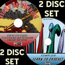 NEW LEARN TO CROCHET DVD & PC CD ROM INC 800+ EASY 2 FOLLOW CROCHET PATTERNS NEW