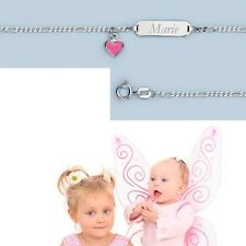 Mädchen Baby Taufe rosa Herz Geburts Armband mit Namen Gravur Echt Silber 925