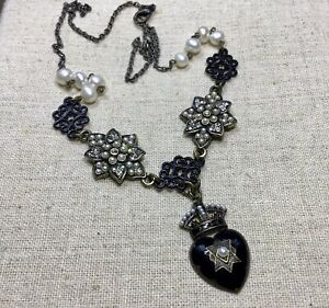 Heart Necklace-heart W/ Crown, Black & Antique Gold Tone, Faux Pearls