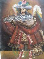 Belle Peinture Huile Sur Toile Marouflée Sur Carton Archange Cuzco XXe