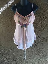 Pierri New York Camisole Fairy Ethereal Silk Floral Embroidered Beaded Pink M