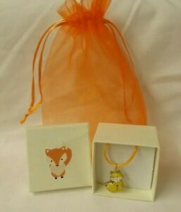 Fox - Orange faux leather necklace with Fox charm - in box and orange bag