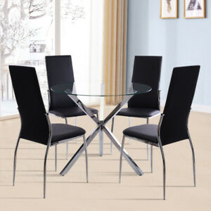"Glass ""X"" Shape Base Dining Table  & 2/4 Chairs Seater Set Home Office Furniture"
