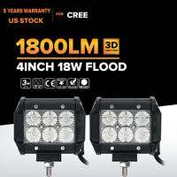 "2x 18W 4"" Cree LED Work Light Bar Flood Offroad 4WD ATV SUV Fog Driving Lamp 36W"