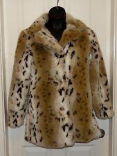 Womens Blanc Noir Outerwear faux fake fur leopard spot jacket coat size Large