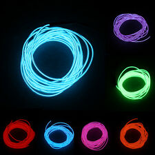 1/4/5m LED 12V Neon Light Glow EL Wire Rope Tube Car Decorative Light Strip N QW
