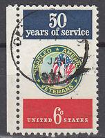 USA Briefmarke gestempelt 6c 50 years of service Rand links Rundstempel / 2722