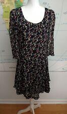 Monsoon 3/4 Sleeved Black Ditsy Floral Knee Length Dress UK Size 10