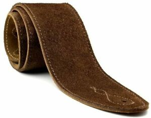 """Real Suede 2.5"""" Inch Wide Brown Guitar Strap with Reinforced Leather Strap Ends"""