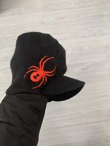 Spyder Boys Black   Graphic Red  Logo Winter Brim  Beanie Hat