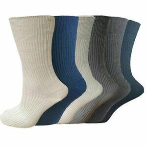 12 Pairs Mens Non Elastic Socks 100% Pure Cotton Comfort Soft Diabetic Size 6-11