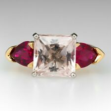 Gemstone Ring GTL Certified Morganite and Garnet with 14K Gold Engagement Ring