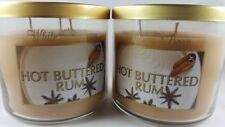 (2) White Barn Bath & Body Works Hot Buttered Rum 14.5oz 3-wick Candle