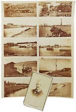 1860s RARE UNCUT Albumen CDV PHOTOGRAPHS - SUEZ CANAL - Port Said - De Lesseps