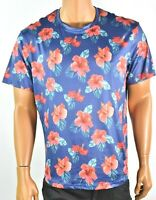 Tallia Mens Sports T-shirt L New Blue Red Floral Athletic Crew Neck Short Sleeve