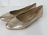 Via Spiga Size 9.5M Ballet Flats 39.5 Slip On Shoes Leather Gold Scallop Trim