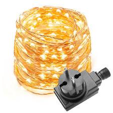 10M 33Ft 100 LED Kupferdraht Lichterkette Stripe Wasserdicht Warmweiß + Netzteil